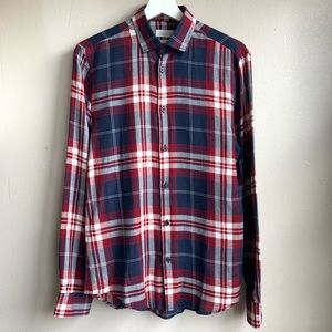 Zara man red white and blue plaid button down NWOT